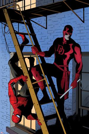 Daredevil No.8 Cover: Daredevil and Spider-Man on the Fire Escape Print by Paolo Rivera