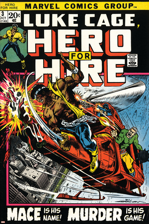 Marvel Comics Retro: Luke Cage, Hero for Hire Comic Book Cover No.3, Mace in Helicopter Prints