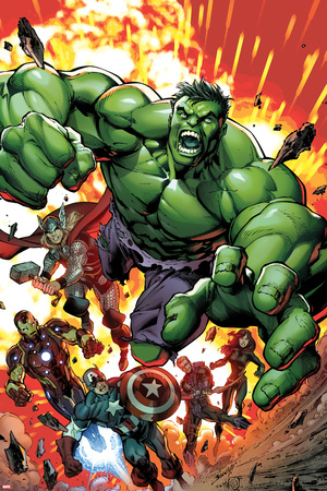 Avengers Assemble No.2 Cover: Hulk, Thor, Iron Man, Captain America, Hawkeye, and Black Widow Posters by Mark Bagley