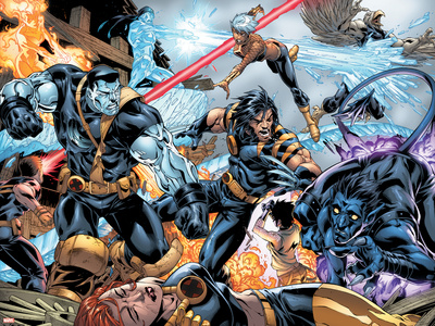 Ultimate X-Men No.97 Group: Wolverine, Colossus, Nightcrawler, Storm and Iceman Prints by Mark Brooks