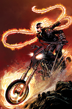 Ghost Rider No.1: Ghost Rider Flaming and Riding a Motorcycle Print by Matthew Clark