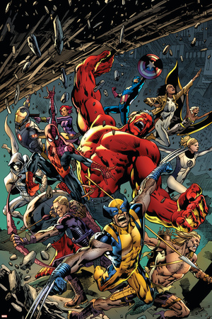 Age of Ultron 5 Cover: Red Hulk, Captain America, Storm, Iron Man, Moon Knight, Hawkey, Wolverine Photo by Bryan Hitch