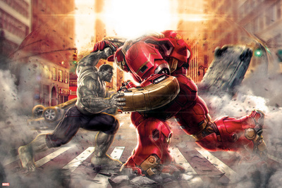 The Avengers: Age of Ultron - Hulk Fights Hulkbuster Poster
