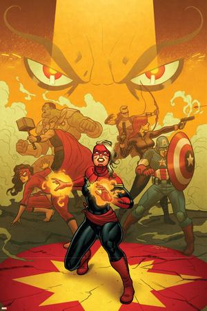 Captain Marvel 13 Cover: Captain Marvel, Spider Woman, Thor, Hulk, Black Widow, Captain America Posters by Joe Quinones