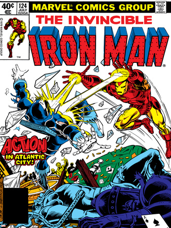 Marvel Comics Retro: The Invincible Iron Man Comic Book Cover No.124, Action in Atlantic City Posters