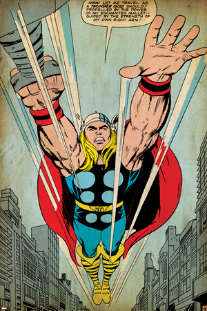 Marvel Comics Retro: Mighty Thor Comic Panel, Flying (aged) Plakát