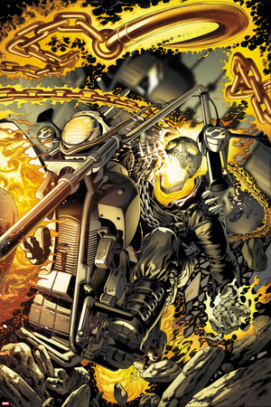 Ghost Rider No.0.1 Cover: Flaming and Riding a Motorcycle Prints by Arturo Lozzi