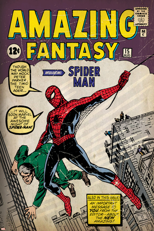 Marvel Comics Retro: Amazing Fantasy Comic Book Cover No.15, Introducing Spider Man (aged) Plakát