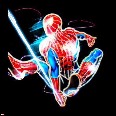 Spider-Man Neon Badge: Spider-Man Swinging Posters