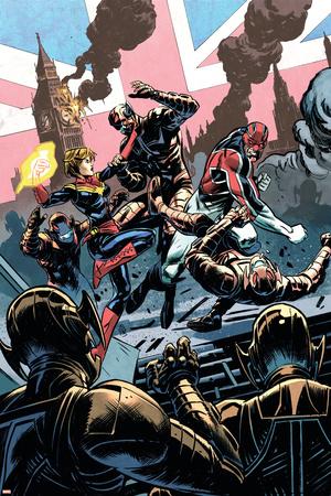 Avengers Assemble 15Au Cover: Captain Britain, Captain Marvel, Ultron Posters by Nic Klein