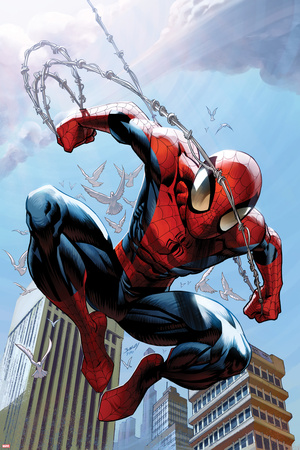 Ultimate Spider-Man No.156 Cover: Spider-Man Jumping Lámina por Mark Bagley