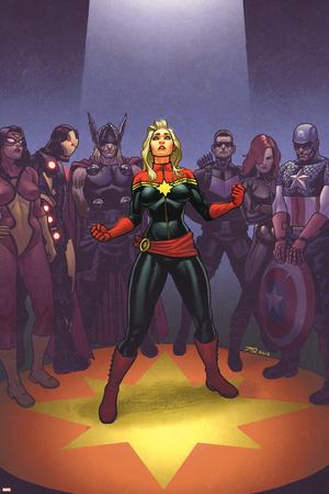 Avengers: the Enemy Within 1 Cover: Captain Marvel, Thor, Iron Man, Hawkeye, Black Widow Prints by Joe Quinones