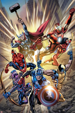 Avengers: Age of Ultron No.0.1 Cover: Captain America, Wolverine, Hawkeye, Spider-Man and Others Posters by Bryan Hitch