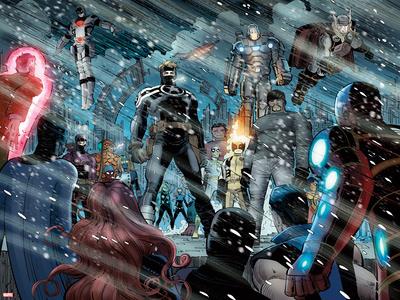 Avengers No.8: Captain Marvel, Steve Rogers, Luke Cage, Wolverine, War Machine, and Thor Posters by John Romita Jr.