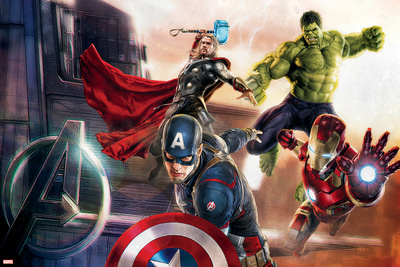 The Avengers: Age of Ultron - Captain America, Hulk, Iron Man, and Thor Prints