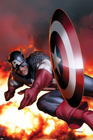 Captain America No.2 Cover: Captain America Jumping and Throwing his Shield Posters by Steve MCNiven