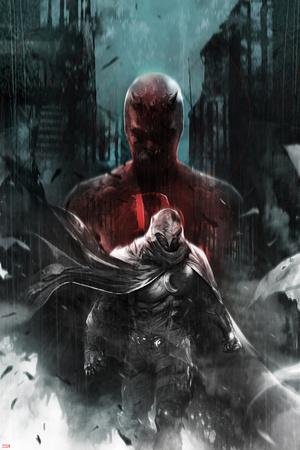 Shadowland: Moon Knight No.1 Cover: Moon Knight and Daredevil Walking Posters by Francesco Mattina