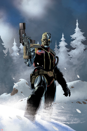 Uncanny X-Force No.5: Deathlok Standing with a Gun in the Snow Prints by Esad Ribic