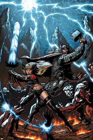 A+X 11 Cover: Thor, Magik Prints by Mark Texeira