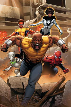 Mighty Avengers 1 Cover: Cage, Like, White Tiger, Spider-Man, Power Man, Spectrum Posters by Greg Land
