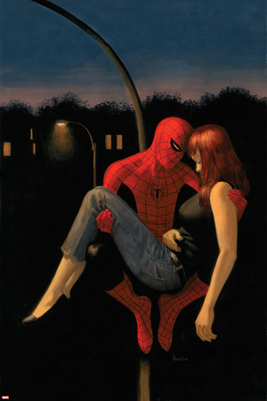 The Amazing Spider-Man No.640 Cover: Spider-Man Holding Mary Jane Watson Print by Paolo Rivera