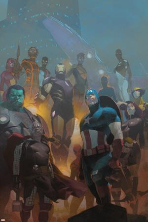 Avengers 24 Cover: Wolverine, Black Widow, Captain America, Spider-Man, Iron Man, Hulk, Thor Prints by Esad Ribic