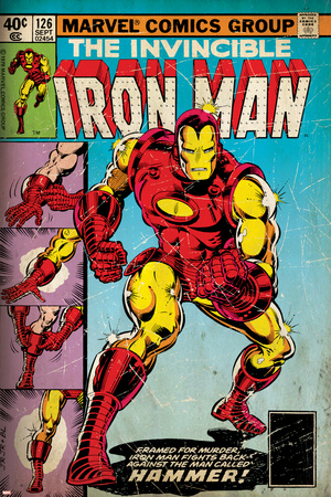 Marvel Comics Retro: The Invincible Iron Man Comic Book Cover No.126, Suiting Up for Battle (aged) Posters