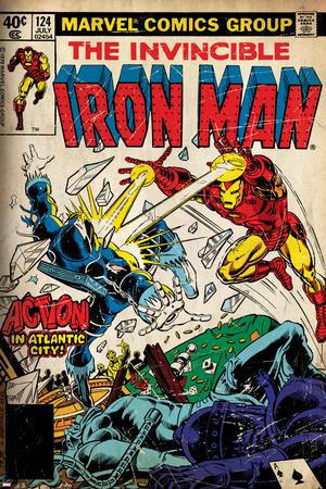 Marvel Comics Retro: The Invincible Iron Man Comic Book Cover No.124, Action in Atlantic City Poster
