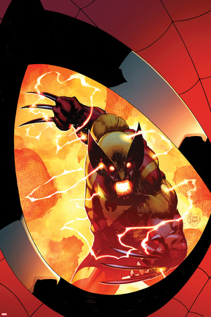 Astonishing Spider-Man & Wolverine No.6 Cover: Wolverine Charging, Seen in a Reflection Photo by Adam Kubert