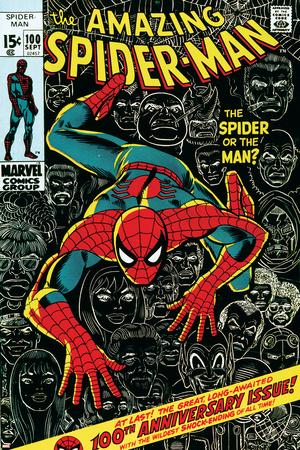 Marvel Comics Retro: The Amazing Spider-Man Comic Book Cover No.100, 100th Anniversary Issue Posters