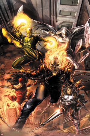 Heroes For Hire No.1 Cover: Ghost Rider, Elektra, Punisher, Iron Fist, and Moon Knight Charging Posters by Doug Braithwaite