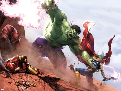 New Avengers Annual No.1: Hulk and Thor Fighting Posters by Gabriele DellOtto