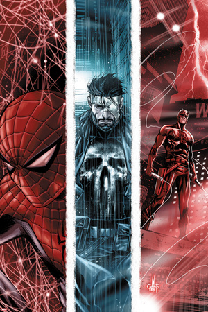 The Punisher No.10 Cover: Spider-Man, Punsiher, and Daredevil Prints by Marco Checchetto
