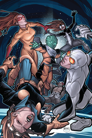 Young Allies No.5 Cover: Nomad, Gravity, Firestar, and Spider-Girl Fighting Posters by David LaFuente