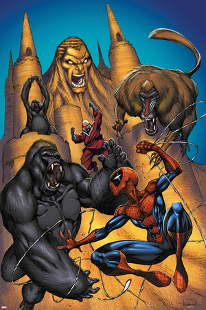 Marvel Adventures Spider-Man No.20 Cover: Sandman, Red Ghost and Spider-Man Fighting a Gorilla Print by  Sotocolor