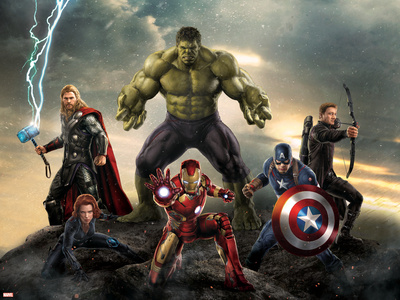 Thor, Hulk, Captain America, Hawkeye, and Iron Man from The Avengers: Age of Ultron Plakát