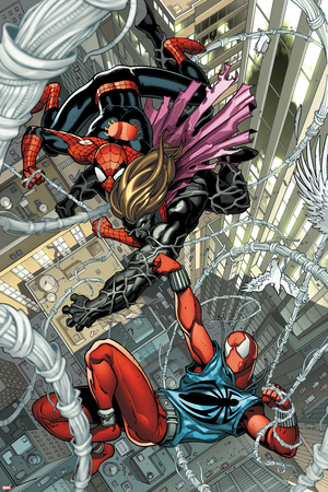 Scarlet Spider No.1: Spider-Man and Scarlet Spider Fighting and Falling Prints by Ryan Stegman