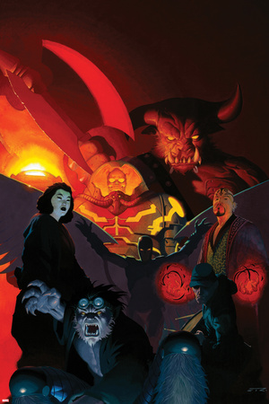 Uncanny X-Force No.14 Cover: Dark Beast, Pestilence, Famine, Death, War, Archangel, and Genocide Poster by Esad Ribic