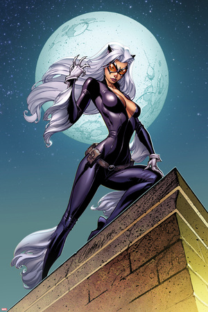 Ultimate Spider-Man No.152 Cover: Black Cat Standing on a Rooftop at Night Prints by J. Scott Campbell