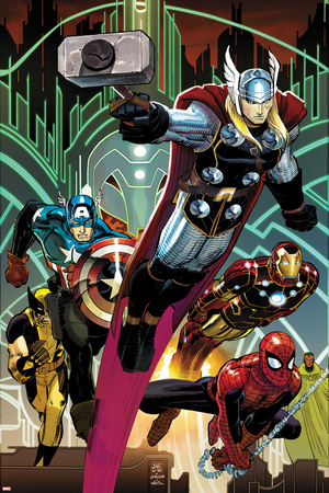 Avengers No.5 Cover: Thor, Captain America, Spider-Man, Iron Man, and Wolverine Flying Posters by John Romita Jr.
