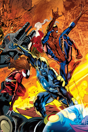 Ultimate Doom No.2 Cover: Captain Marvel, Spider-Man, and Spider Woman Fighting Prints by Bryan Hitch
