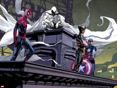 Moon Knight No.2: Spider-Man, Moon Knight, Wolverine, and Captain America Print by Alex Maleev