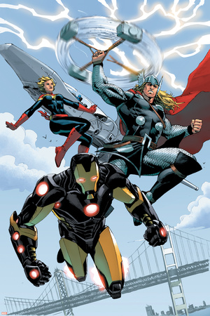 Red She-Hulk 59 Cover Featuring Iron Man, Thor, Captain Marvel Print by Carlo Pagulayan