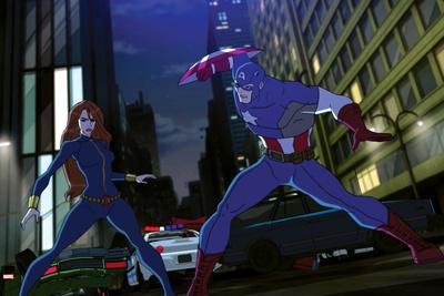 Avengers Assemble Animation Still Featuring Captain America, Black Widow Prints