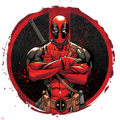Detailed Deadpool symbol comic book poster art