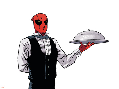 Deadpool image as a butler comic book poster art