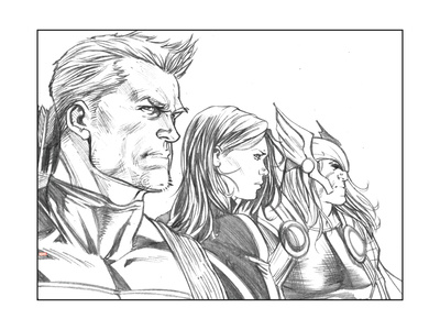 Avengers Assemble Pencils Featuring Hawkeye, Black Widow, Thor Posters
