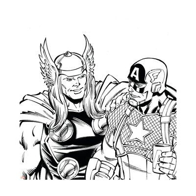Avengers Assemble Inks Featuring Thor, Captain America Poster