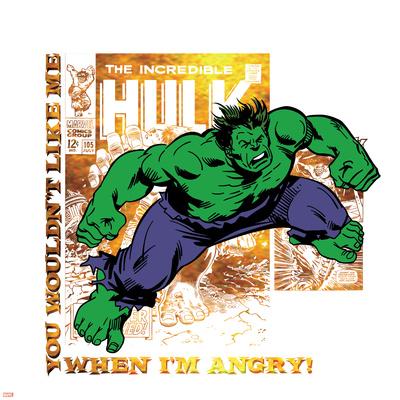 Marvel Comics Retro Badge Featuring Hulk Prints