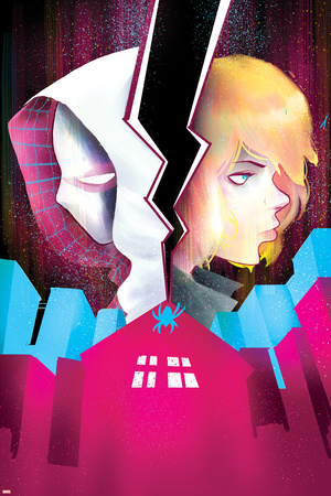 Spider-Gwen 5 Cover Featuring Spider-Gwen, Stacy, Gwen Plastic Sign by Robbi Rodriguez